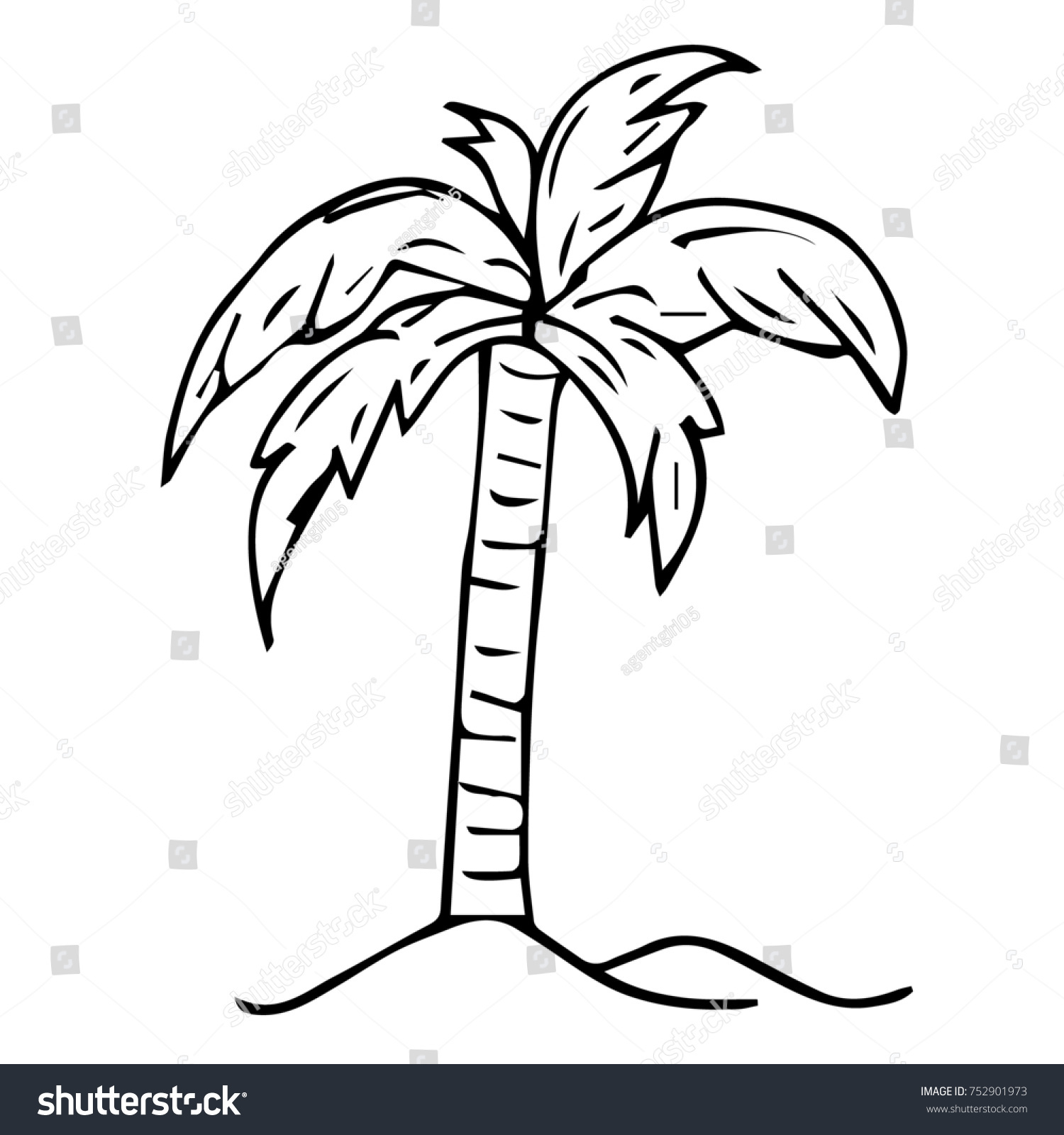 Illustration Tropical Palm Tree Crown Green Stock Illustration