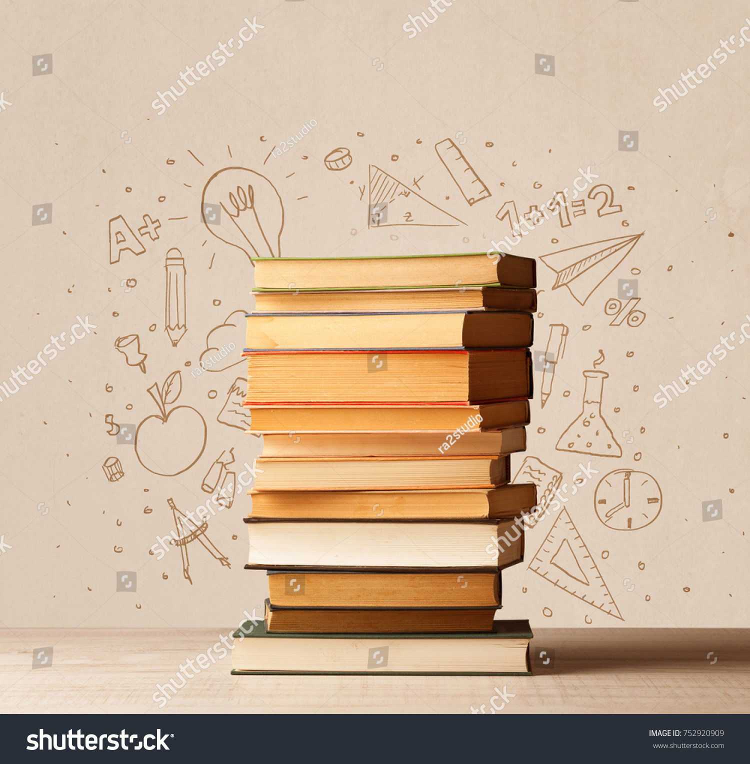 Pile Books On Table School Hand Stock Photo Edit Now 752920909