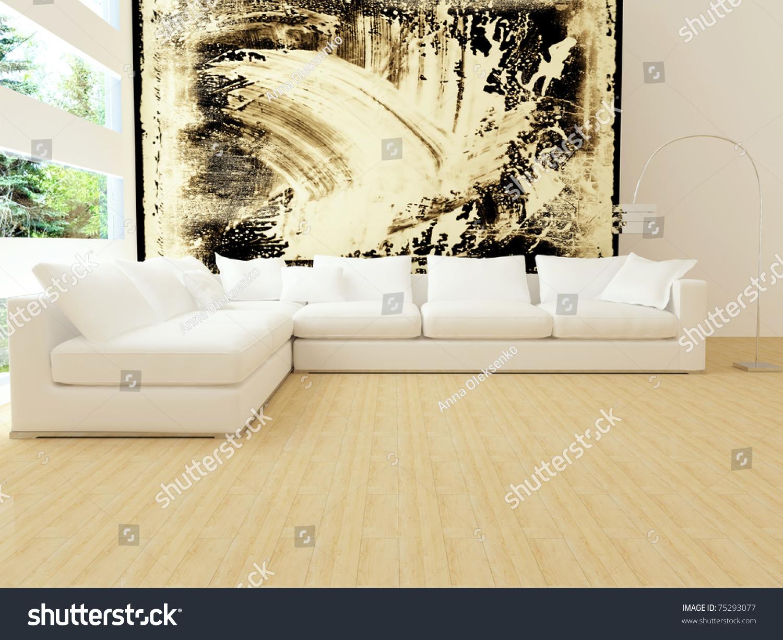 Modern White Living Room Furniture Interior Design Modern White Living Room Stock Illustration