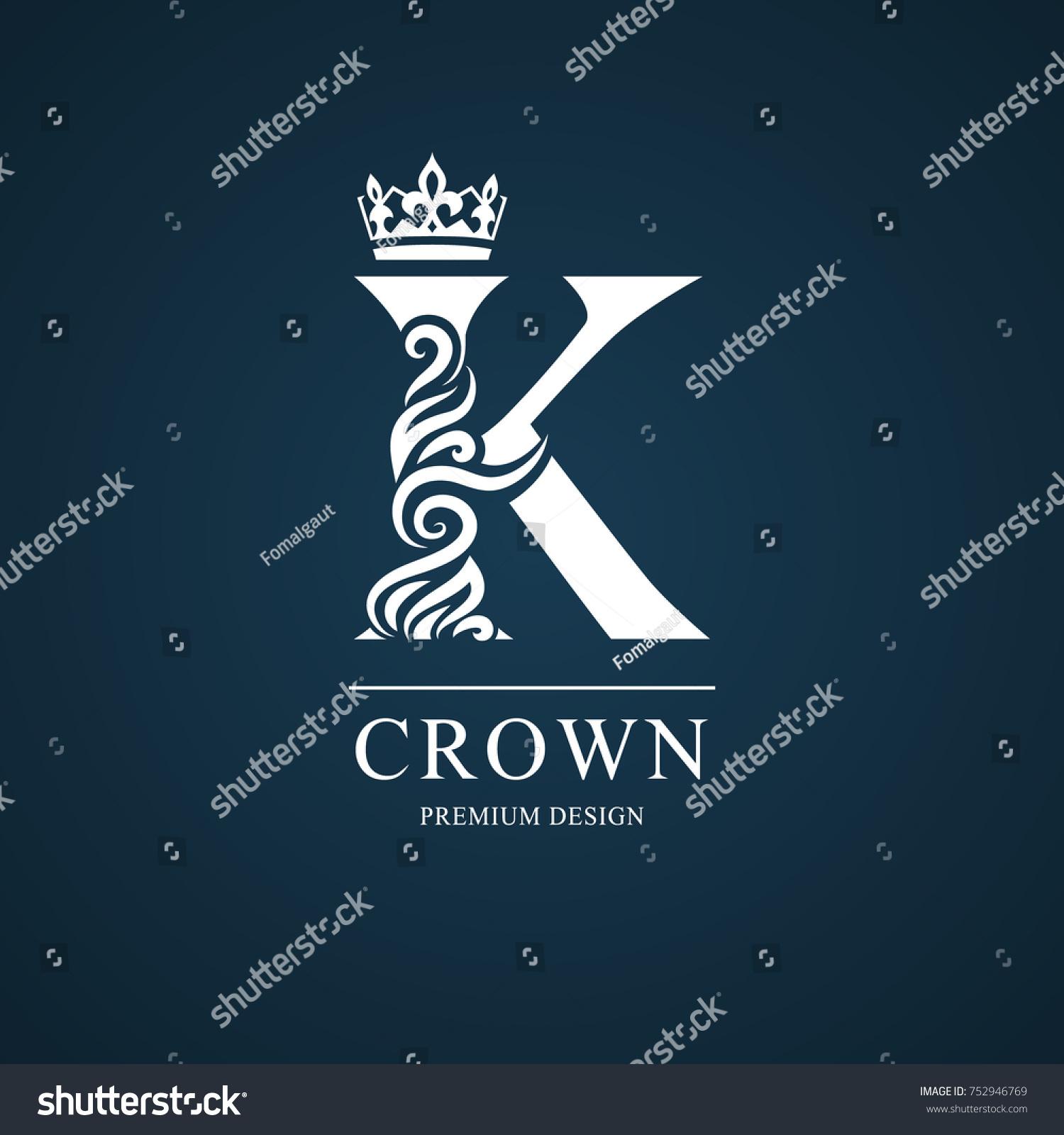 Elegant Letter K Graceful Royal Style Stock Vector Royalty Free