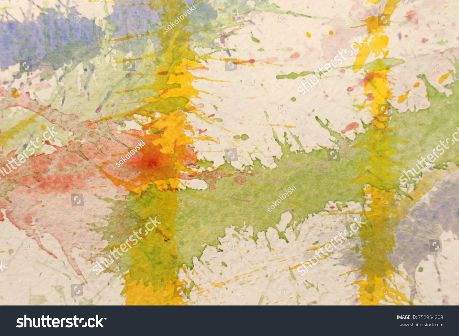Watercolor splash with red, yellow and blue color | EZ Canvas