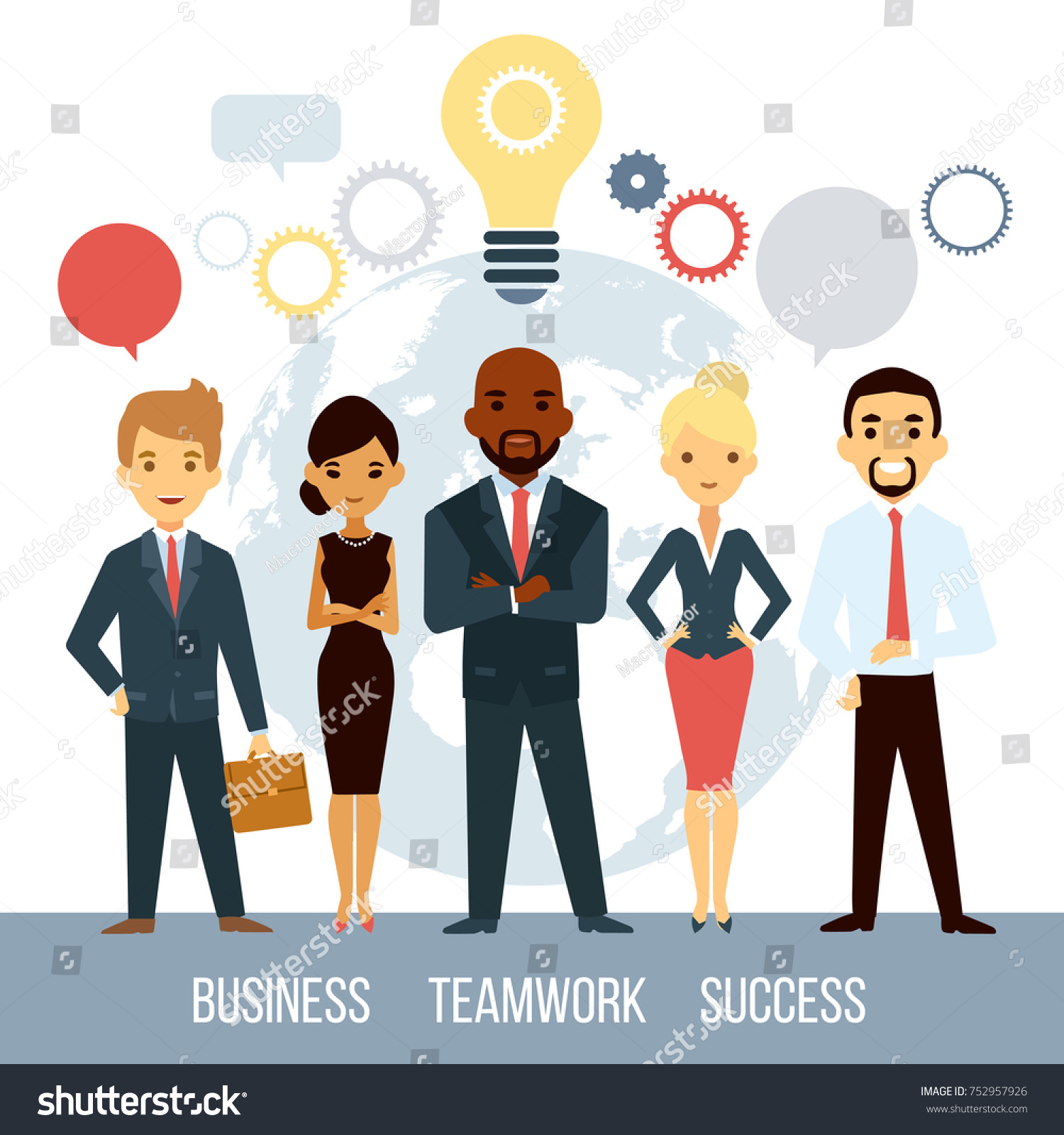 Team Of Professional Successful Smart Businessmen With Great Ideas Isolated Illustration
