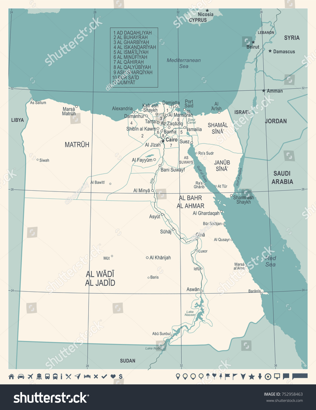 Egypt Map Vintage High Detailed Vector Stock Vector 752958463
