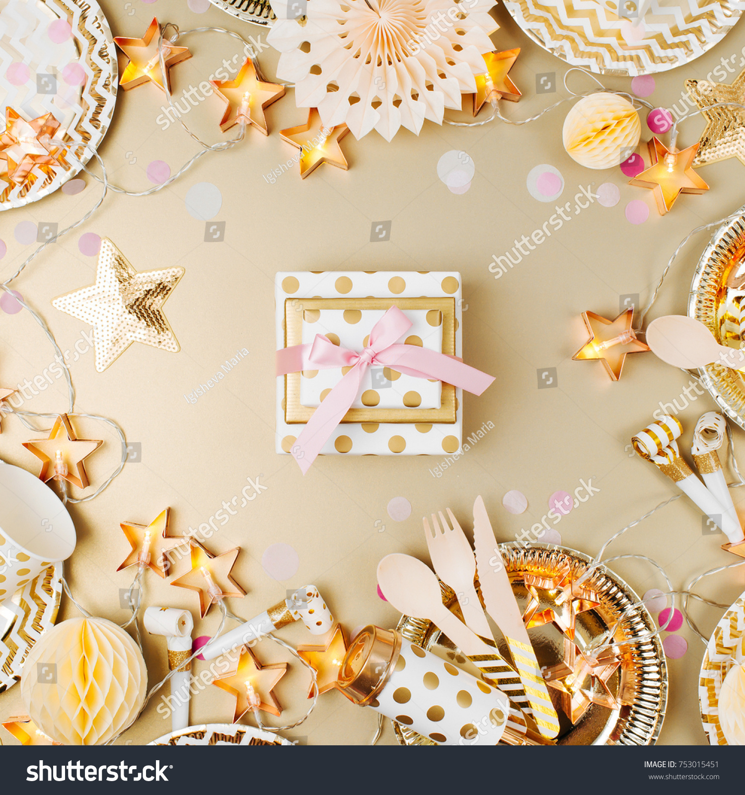 Gift Party Decoration Background Gold Color Stock Photo
