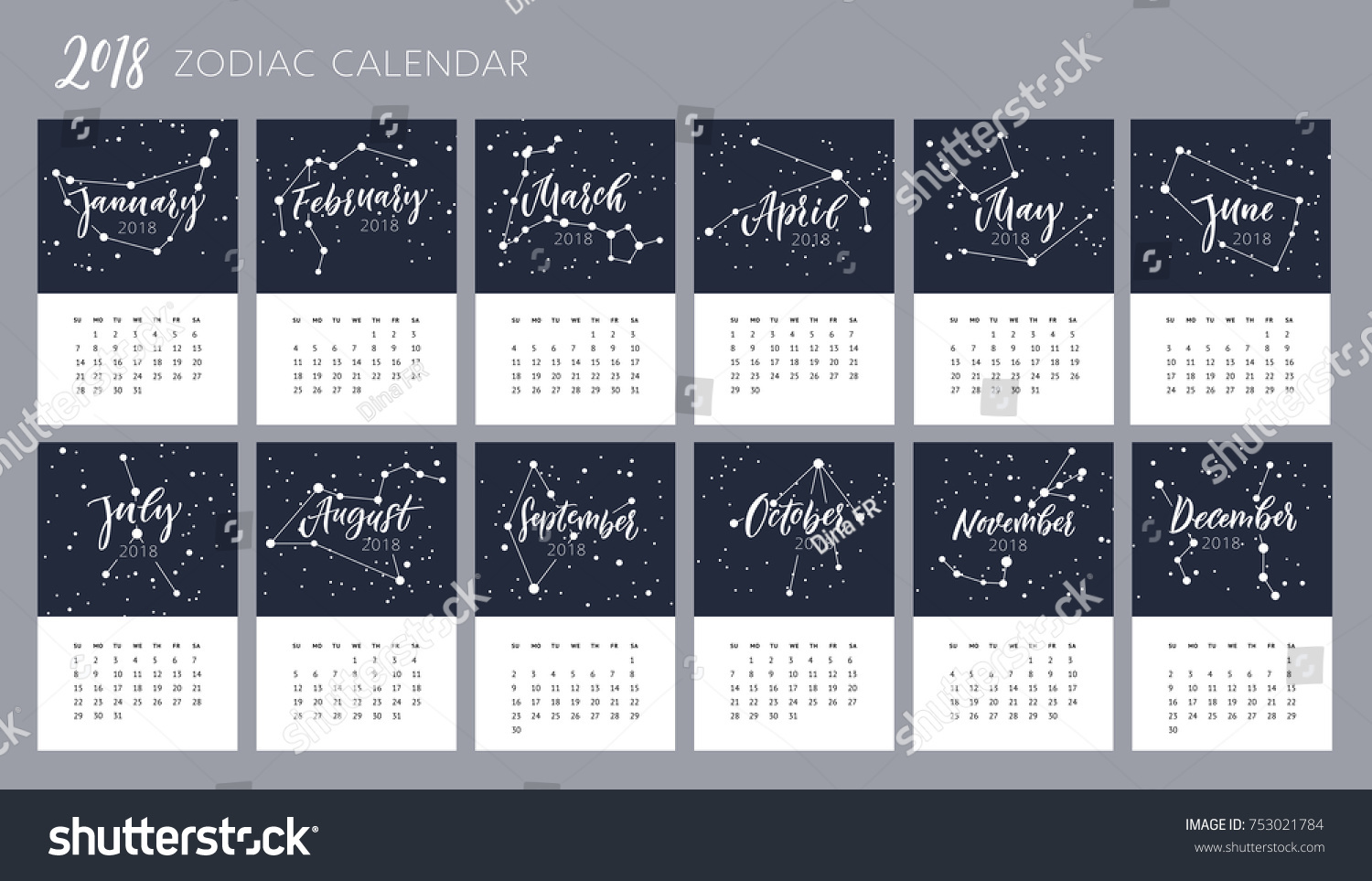 Calendar Design Zodiac : Months names brush lettering constellations zodiac stock