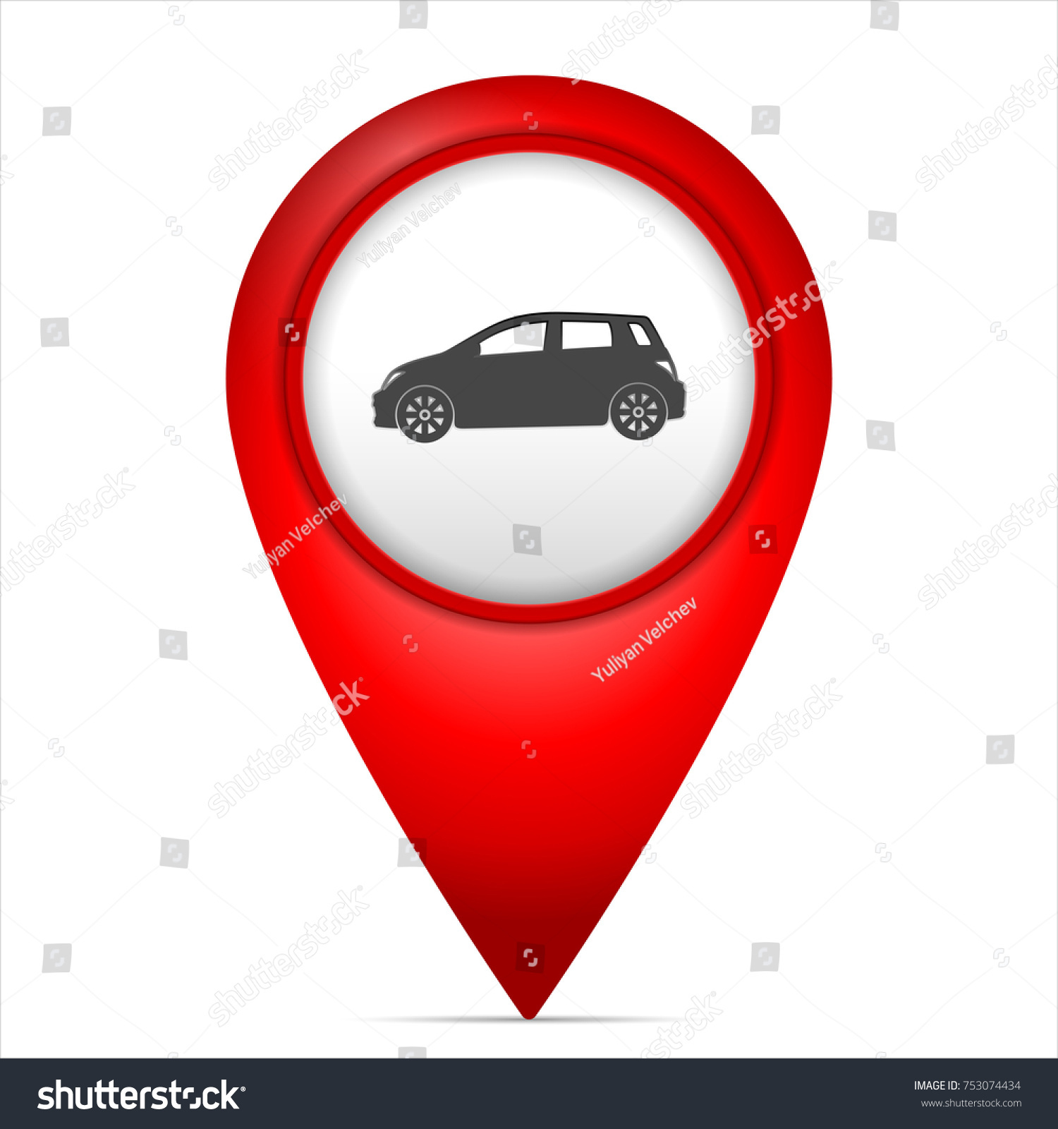 Map Marker Car Symbol On White Stock Vector Royalty Free 753074434