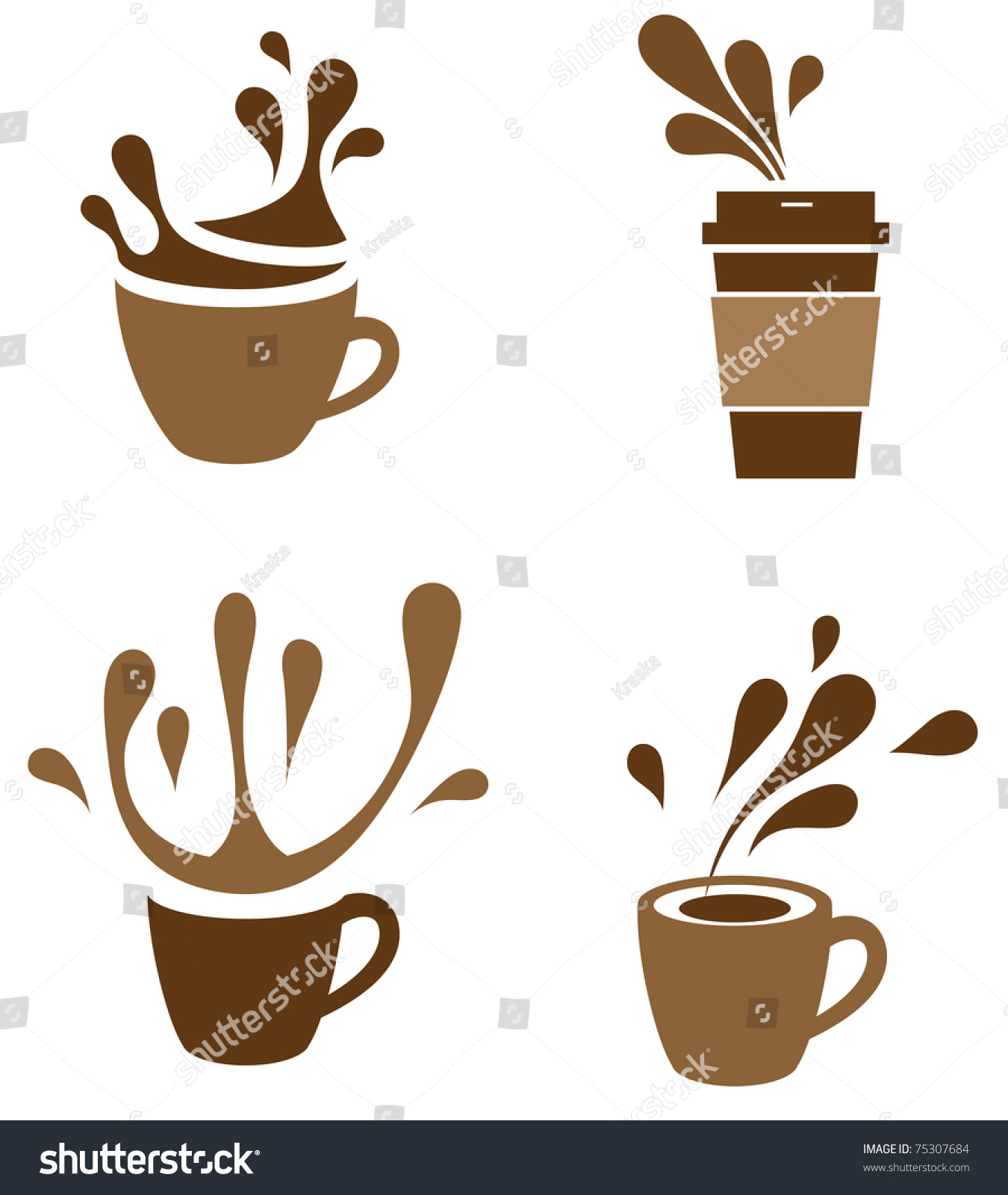 Larger preview vector clip art of a happy yellow coffee cup character - Coffee Cup With Splash