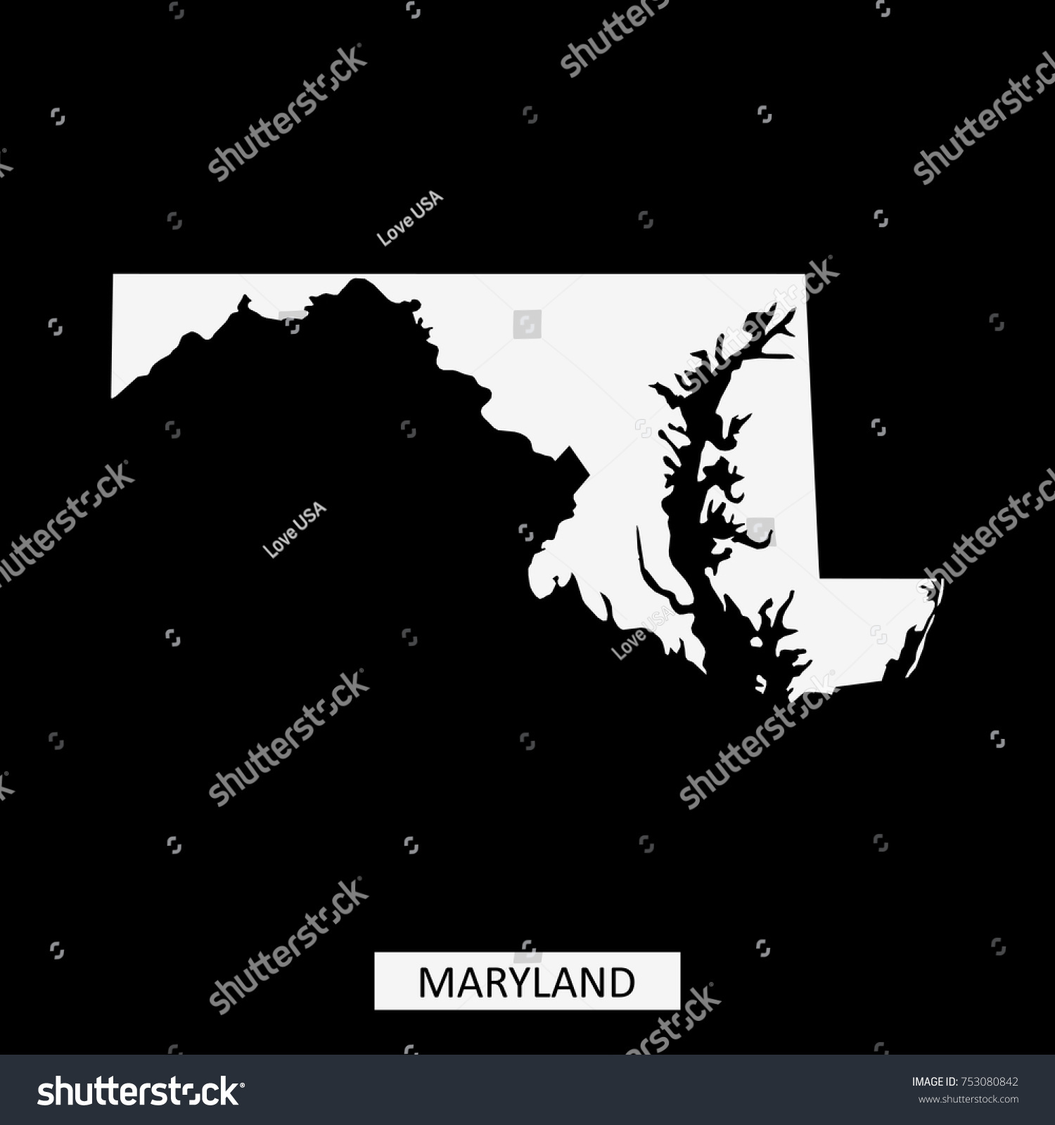 Maryland State Usa Map Vector Outline Stock Vector 753080842
