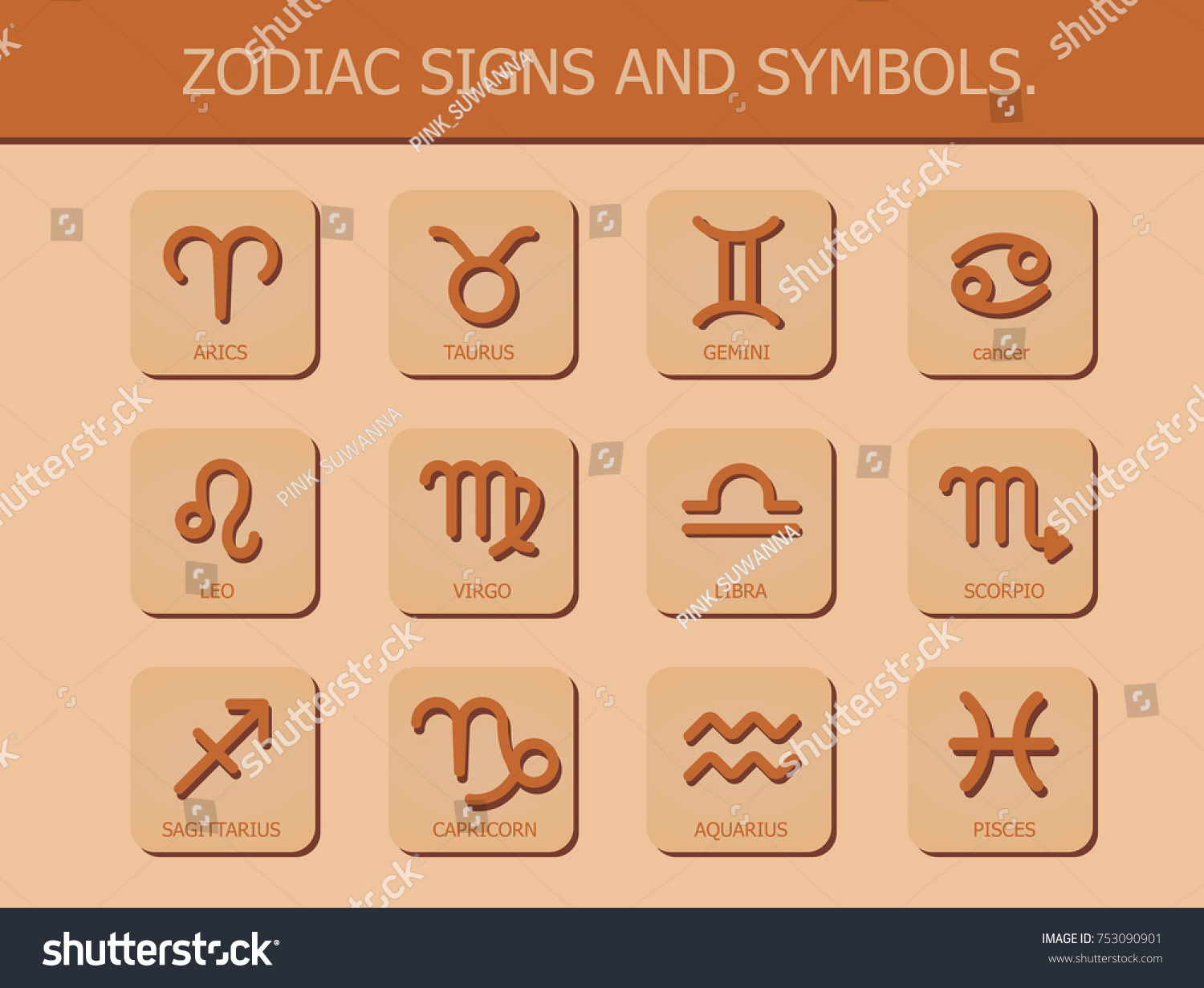 Zodiac signs symbols horoscope astrology on stock vector 753090901 zodiac signs and symbols horoscope and astrology on brown background vector illustration biocorpaavc