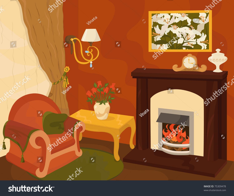 Cartoon Living Room Stock Vector Illustration 75309478 Shutterstock