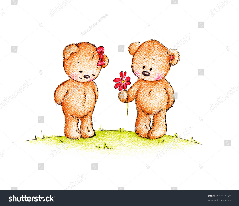 Couple Cute Teddy Bears On White Stockillustration 75311122 ...