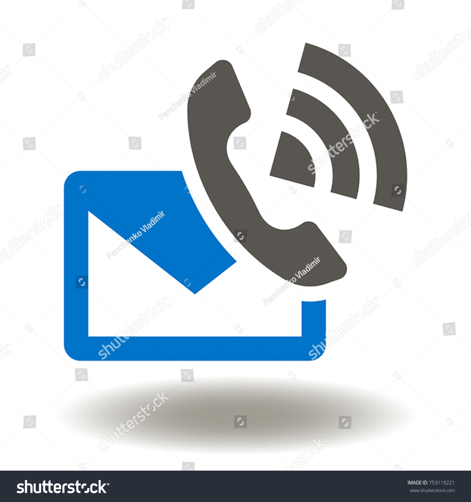 Envelope Mail Handset Phone Icon Vector Stock Vector Royalty Free