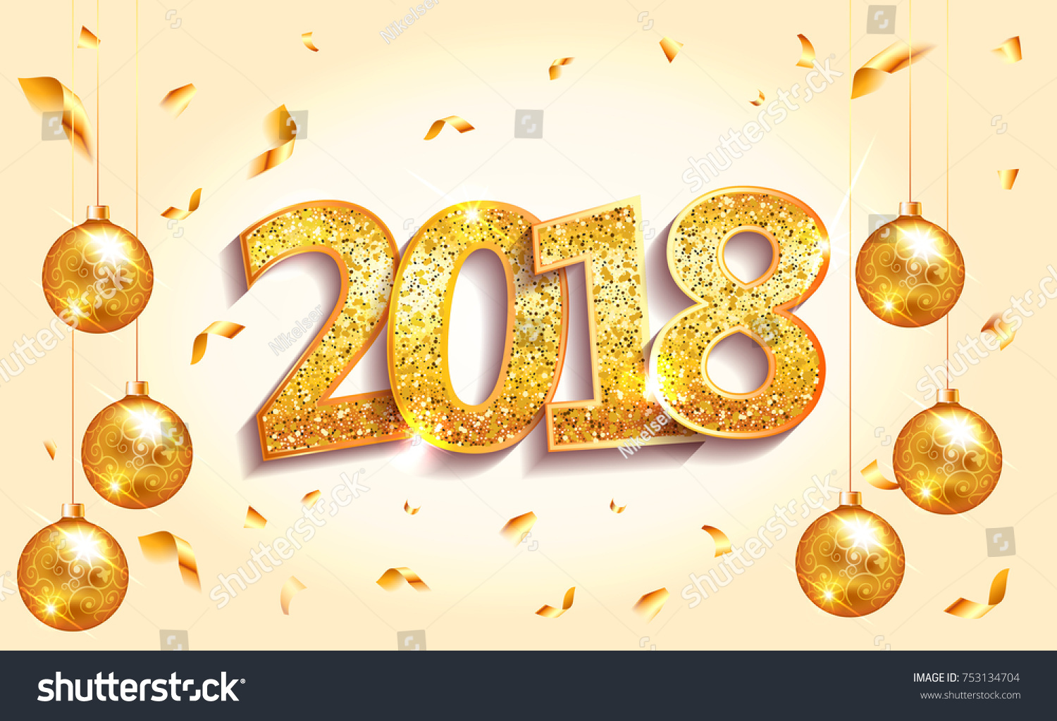 2018 happy new year banner with numbers on light background gold glitter sparkles numbers lettering