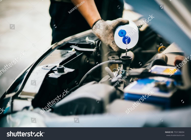 Hand Mechanic Check Water Car Radiator Stock Photo 753138694