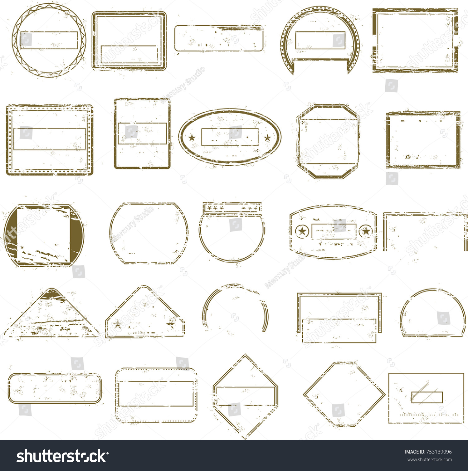 collection grungy empty stamps templates graphic stock vector