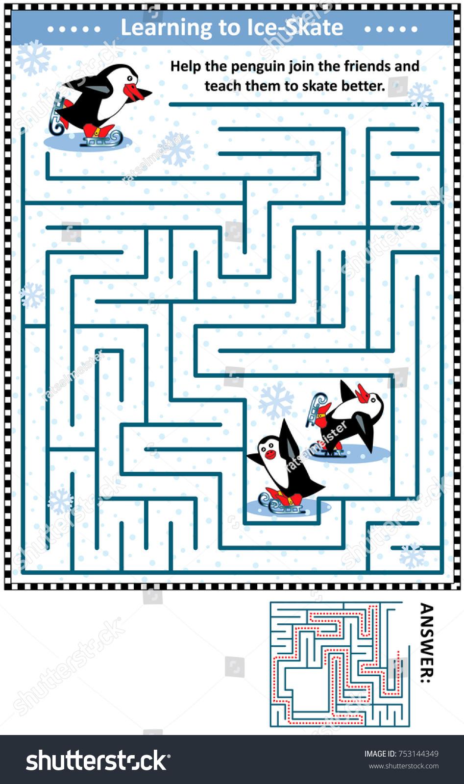 Winter Holidays Themed Maze Game Activity Stock Illustration ...