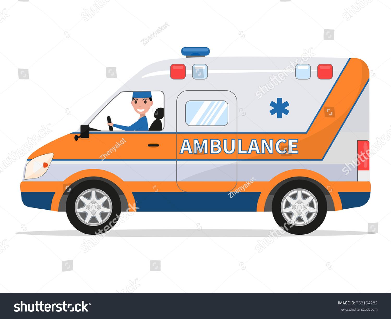 Vector Illustration Cartoon Van Medical Car Stock Vector Royalty