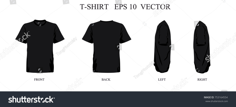 Tshirt Template Bleak Set Front Back Stock Vector Royalty Free