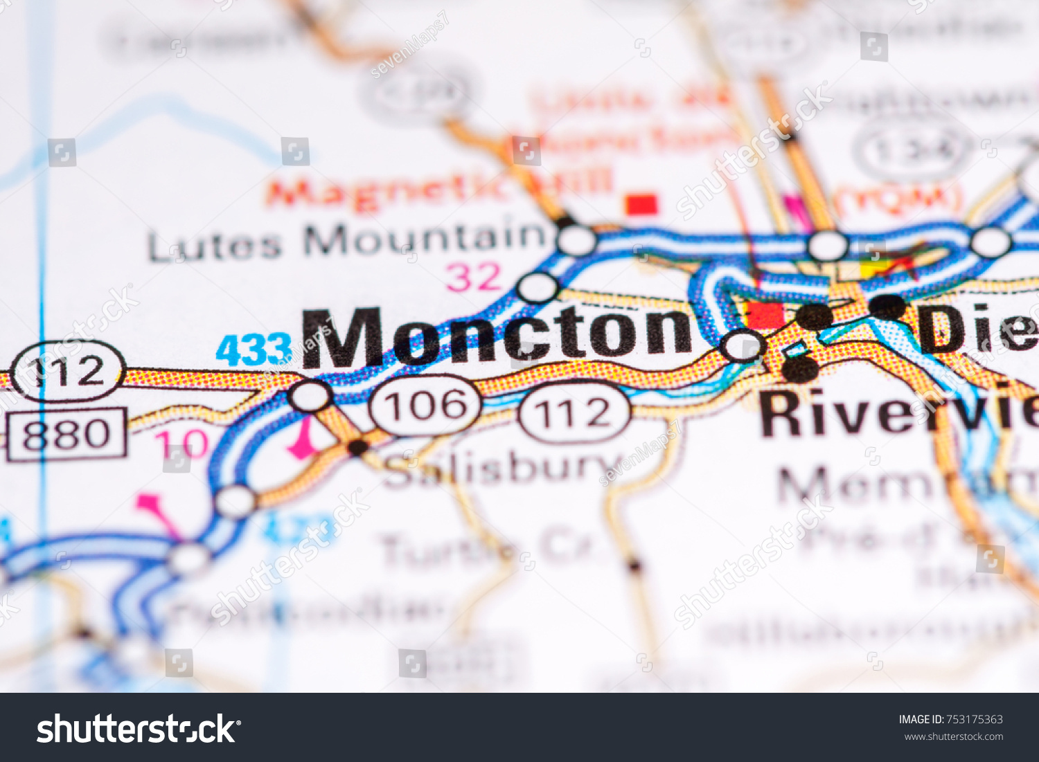 Moncton Canada On Map Stock Photo Edit Now 753175363 Shutterstock