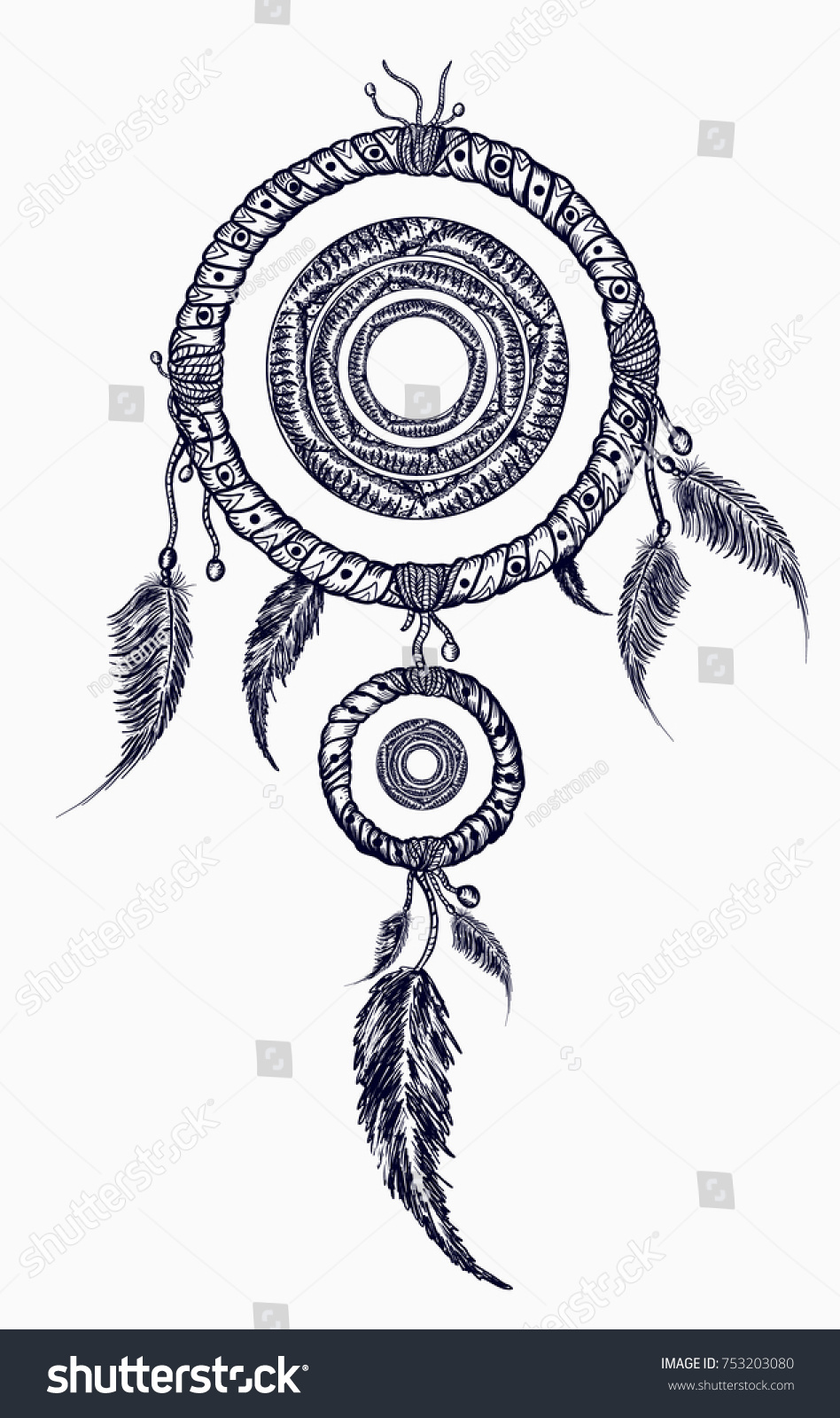 3ff7a0205 Dream catcher with feathers tattoo. Boho native american style t-shirt  design. Indian.
