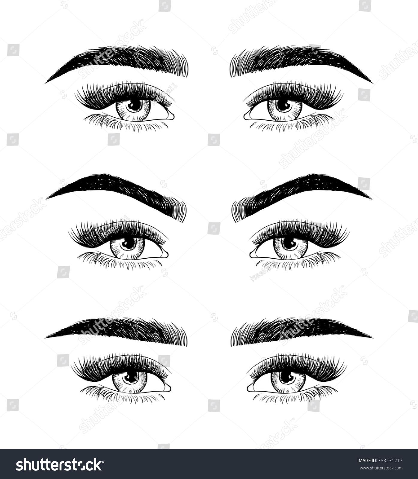Eyebrow Shaping Women Face Makeup 3 Stock Vector Royalty Free