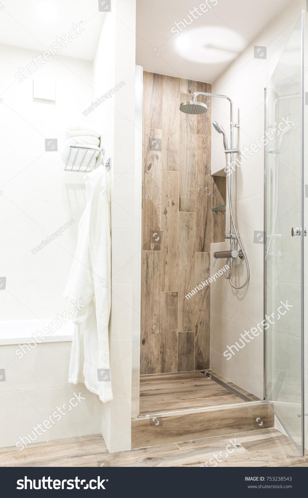 Walk Shower Bathroom Wooden Style Tile Stock Photo (Royalty Free ...