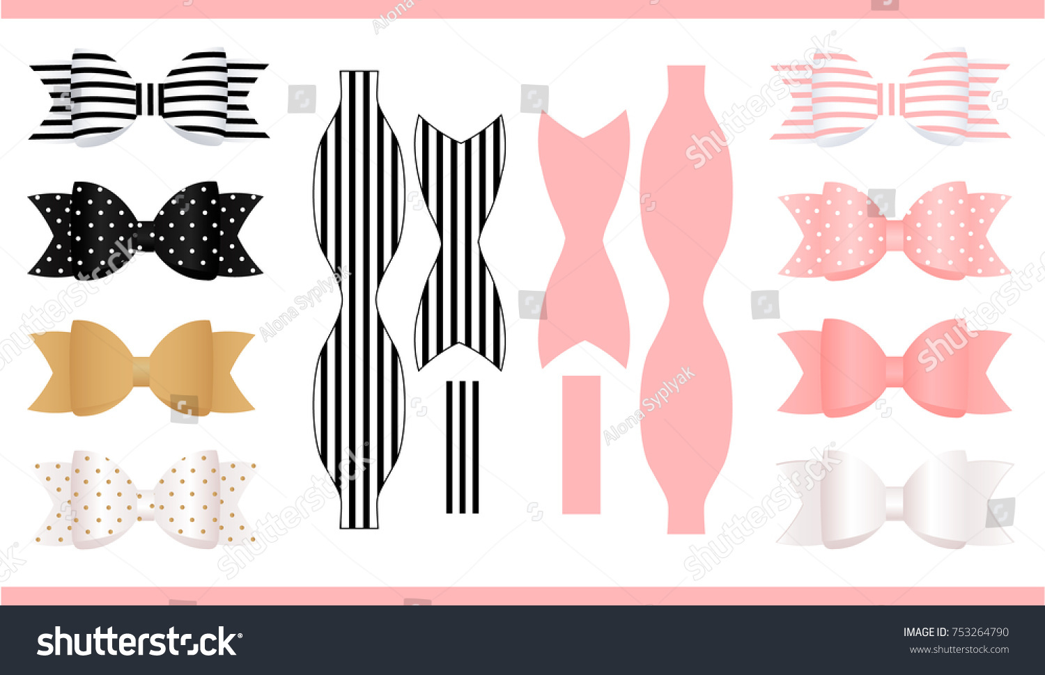 Set Realistic Paper Bows Pink Gold Stock Vector Royalty Free