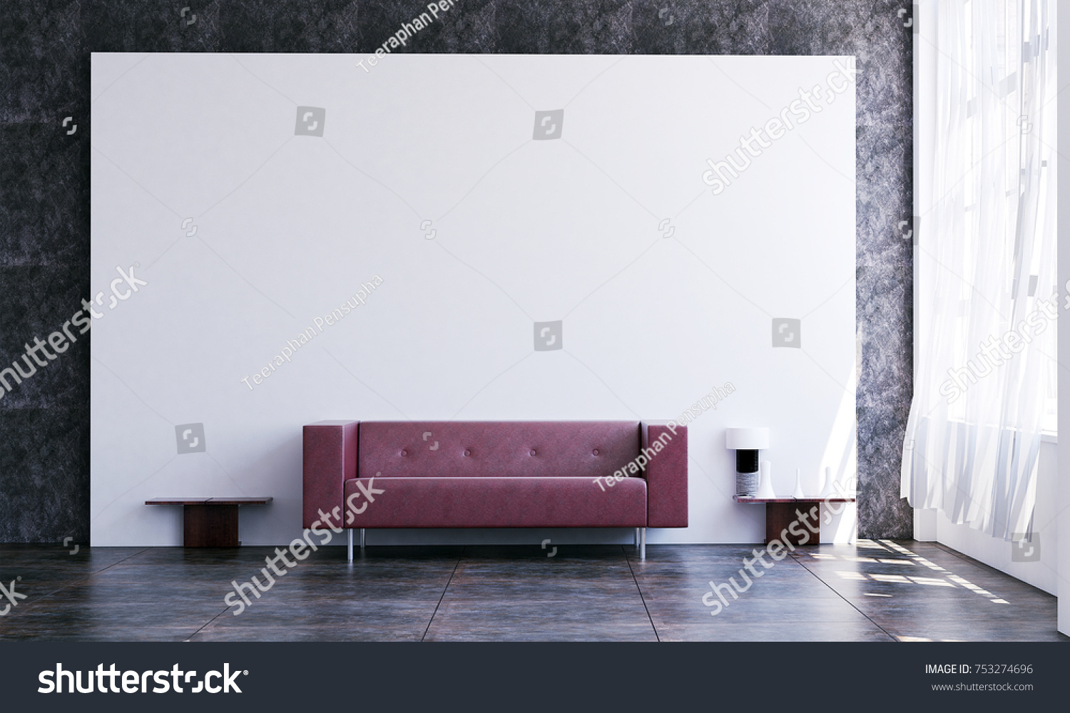 Minimal Living Room White Wall Background Stock Illustration ...