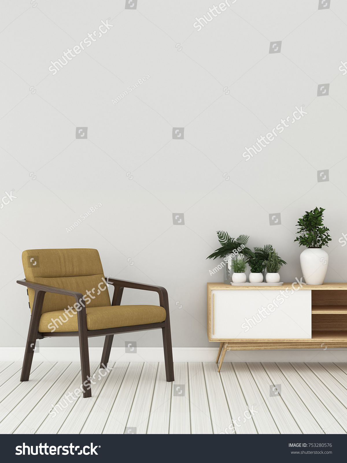 Cozy Space Houseempty Room Wooden Chair Stock Illustration 753280576 ...