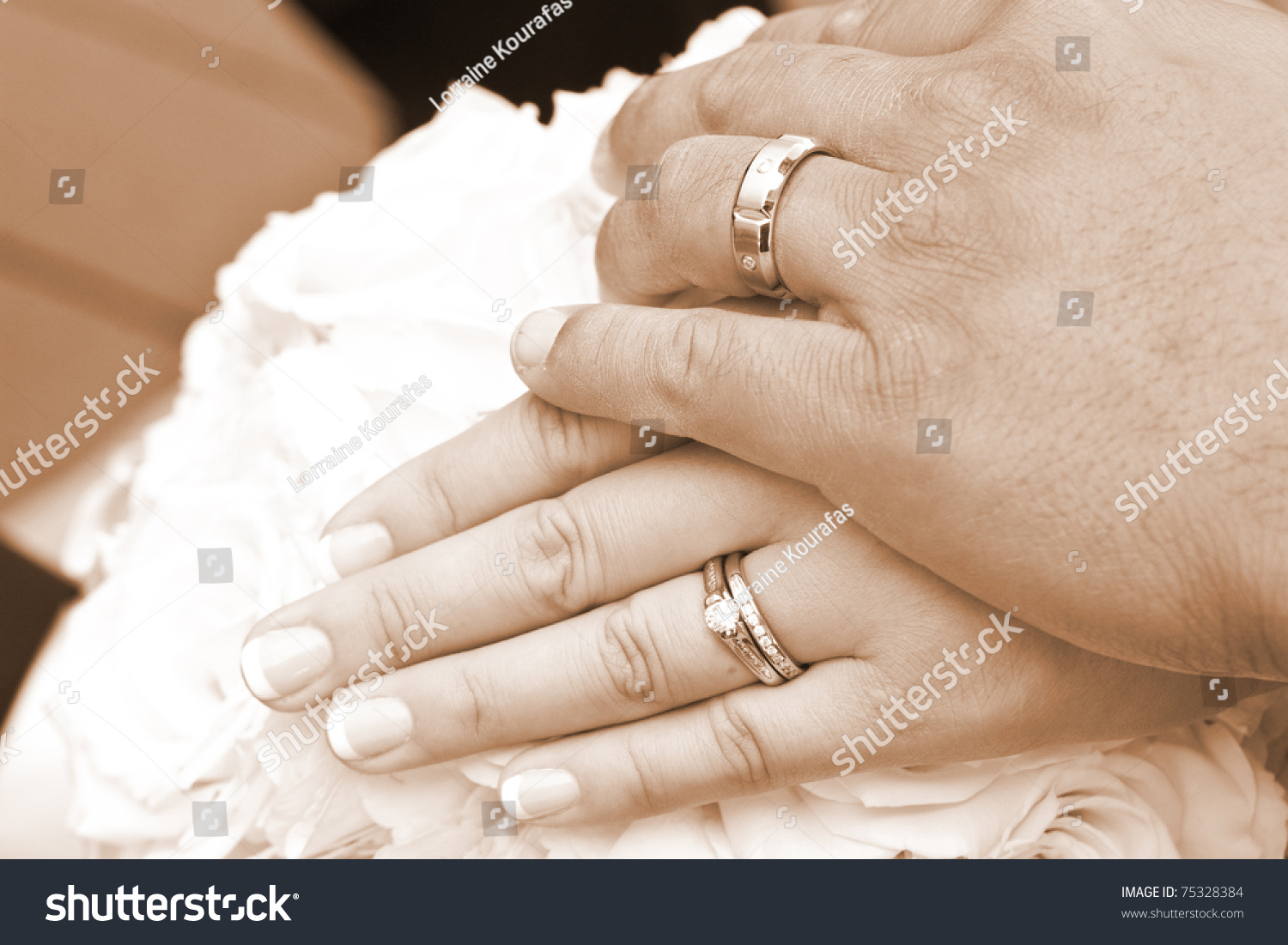 Wedding Day Bride Grooms Hands Rings Stock Photo 75328384