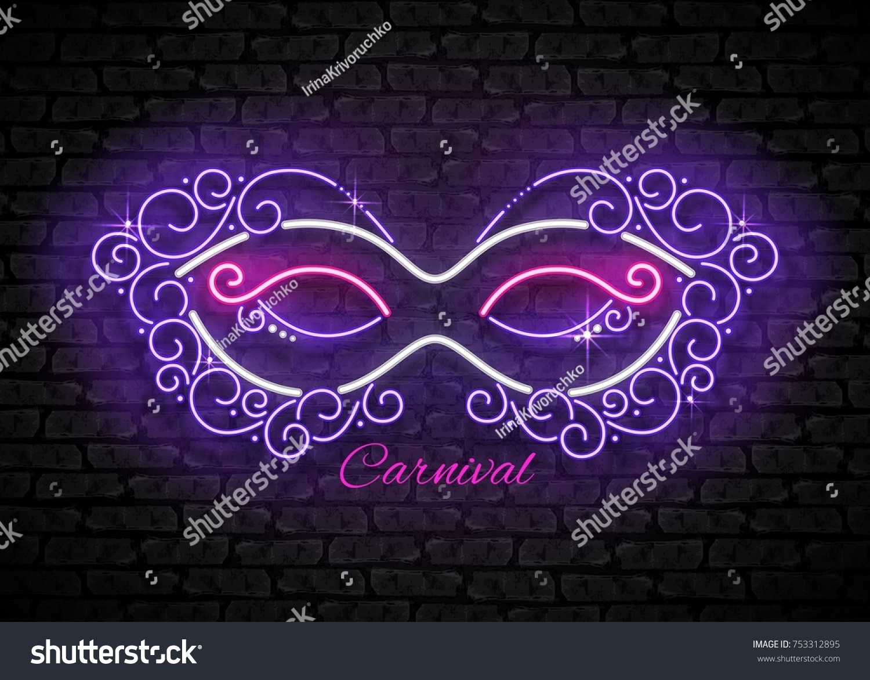 Mardi Gras Masquerade Mask Shiny Neon Vector de stock753312895 ...