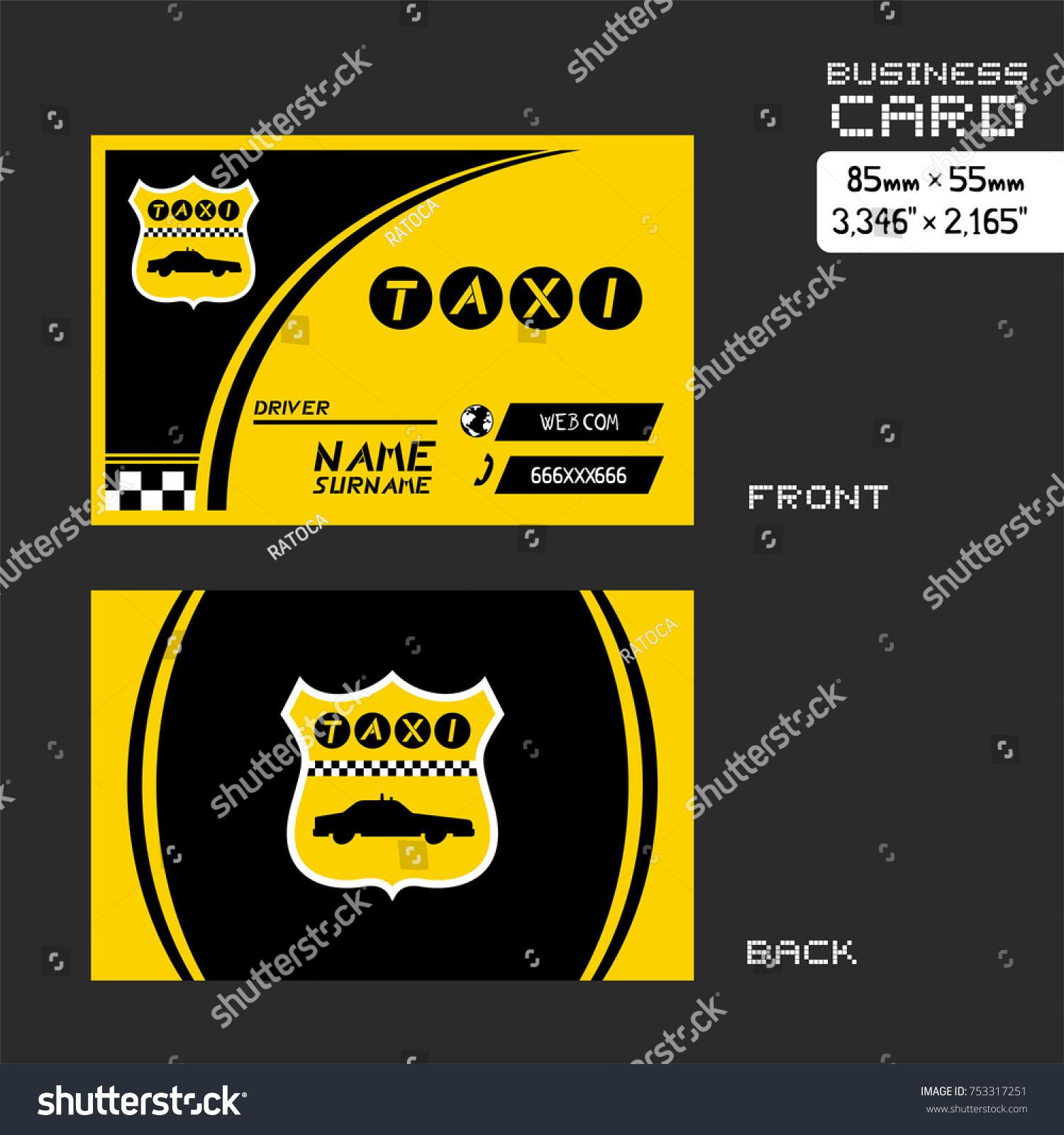 Taxi Business Card Stock Vector 753317251 - Shutterstock