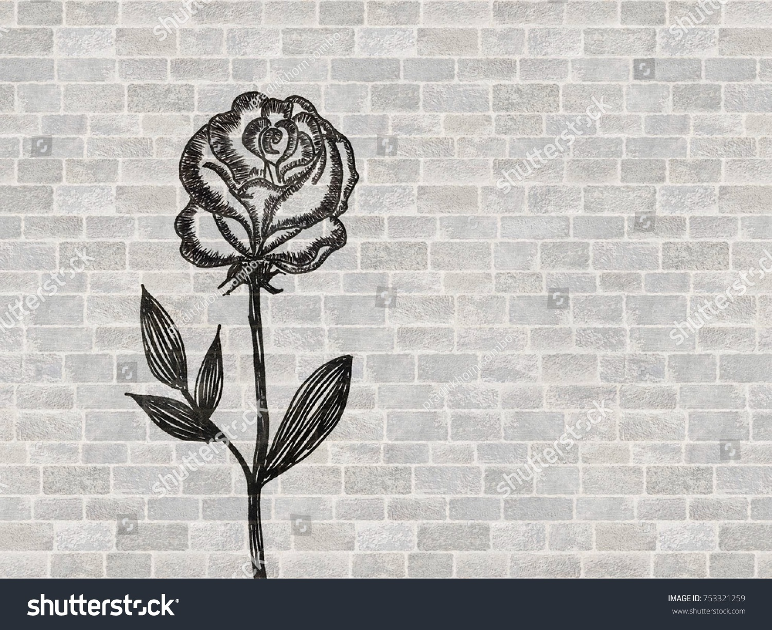 Drawing Rose Flower Bouquet Pen Valentine Stock Illustration ...