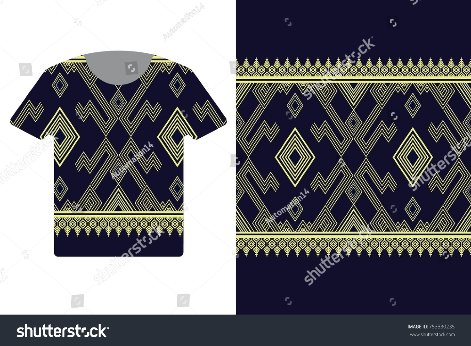 Illustration T Shirt Design Template Geometric Ethnic Stock Vector