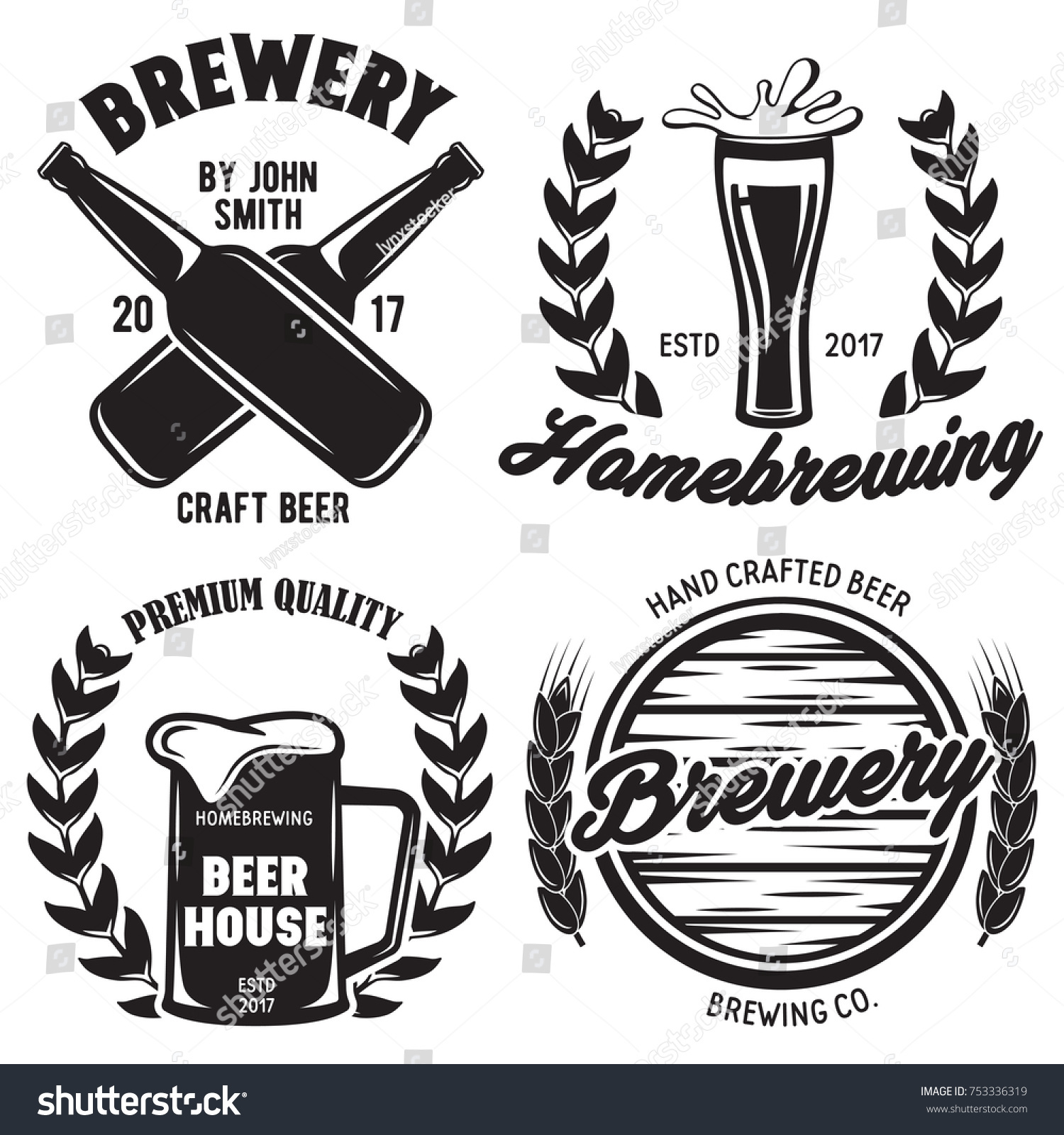 Set Brewery Logos Labels Badge Templates Stock Vector (Royalty Free ...