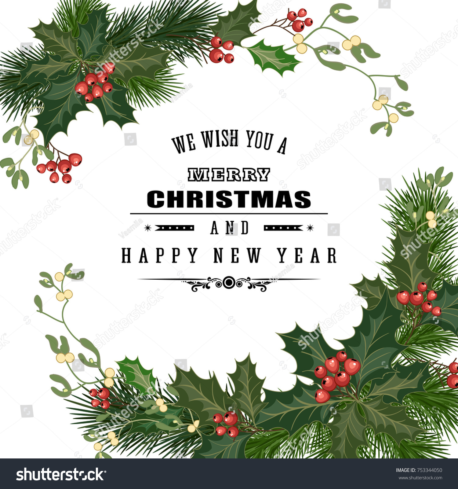 Merry Christmas Greeting Card Traditional Decorations Stock Vector ...