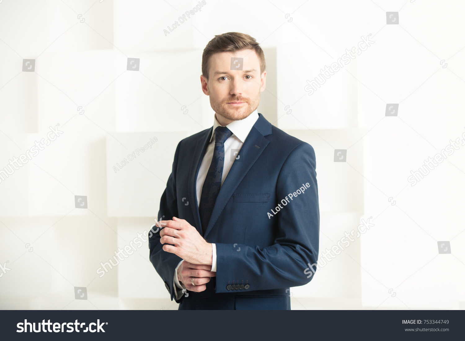 Portrait Man Black Suit Groom Businessman Stock Photo 753344749 ...