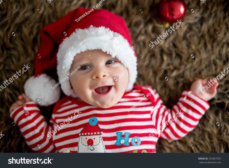 196fc7e07f3 Christmas Portrait Cute Little Newborn Baby Stock Photo (Edit Now ...