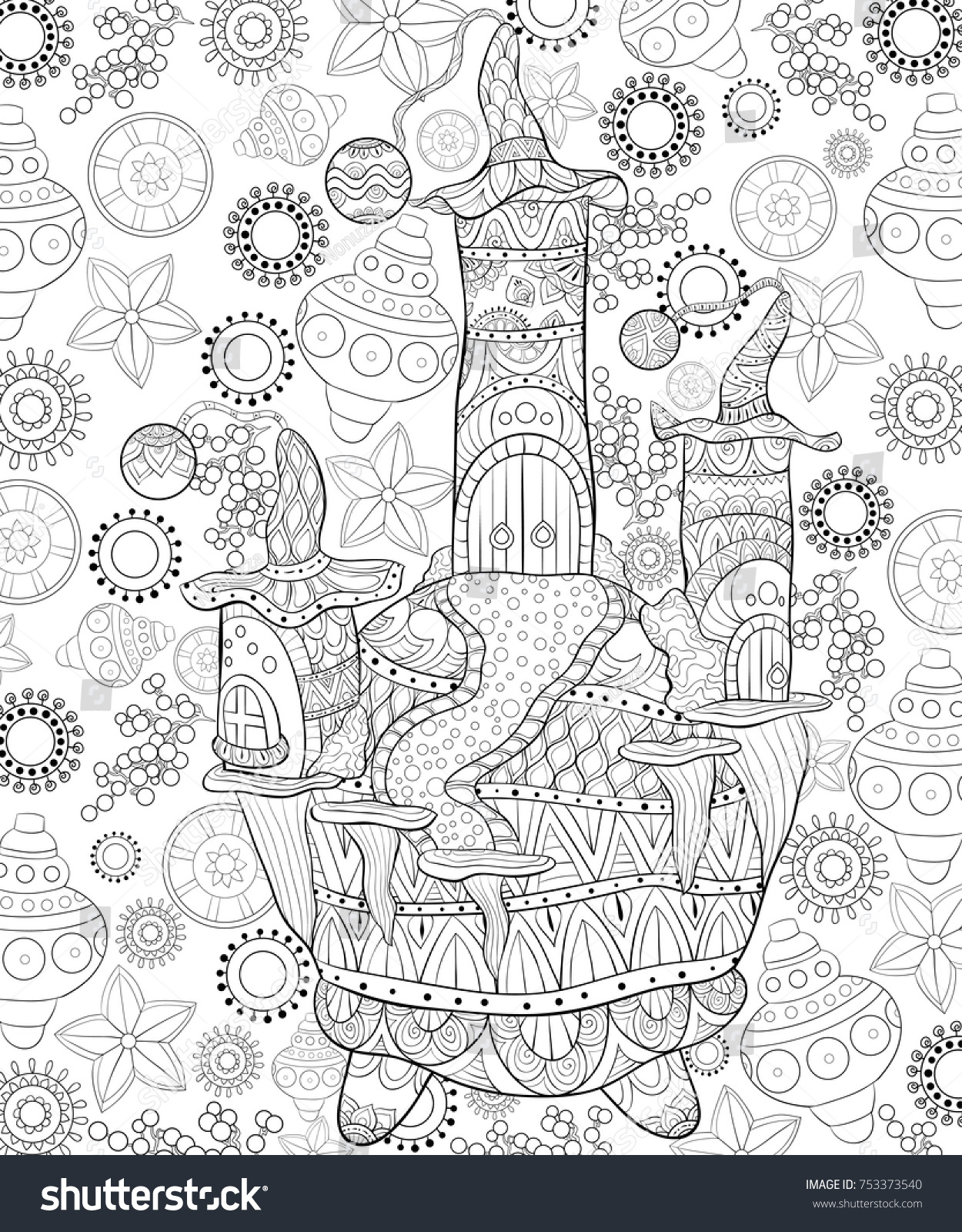 adult coloring pagebook a christmas cute illustration with house of santa claus on the