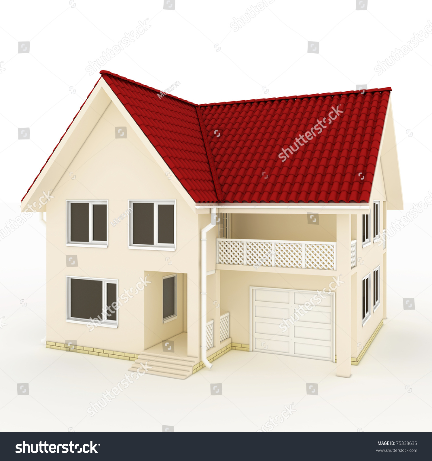 Twostory house red roof balcony garage stock illustration 75338635 shutterstock - Houses with attic and balconies ...