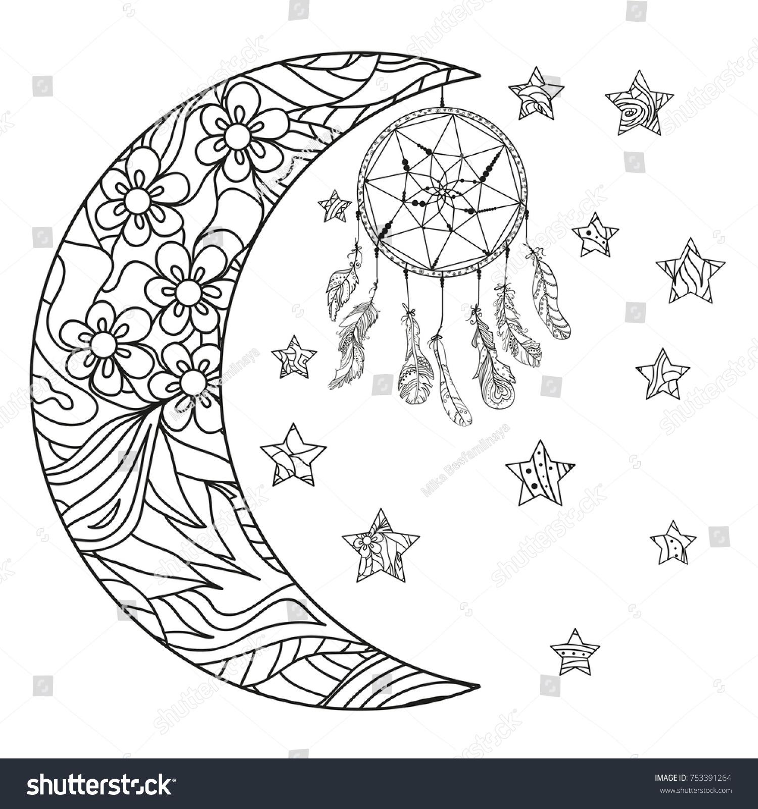 Half Moon Stars Dreamcatcher Abstract Patterns Stock