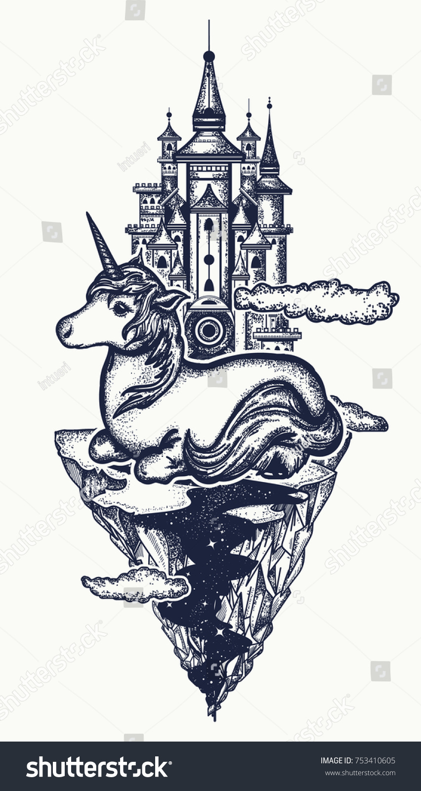 Symbol Dream Magic Medieval Castle Fairy Stock Vector Royalty Free