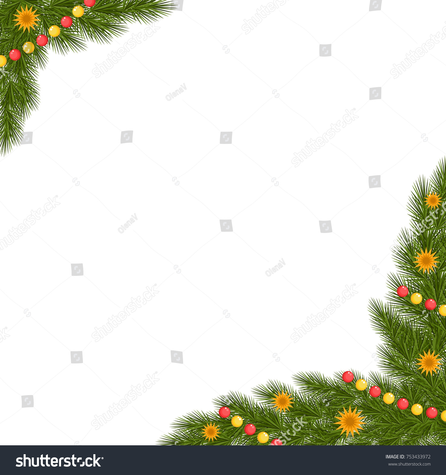 Christmas Corner With Spruce Beads And Stars In Golden Vector Illustration