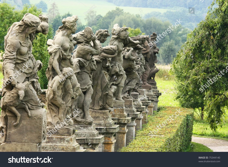 Baroque statues by matthias braun castle stock photo for Designhotel elephant prague 1 czech republic