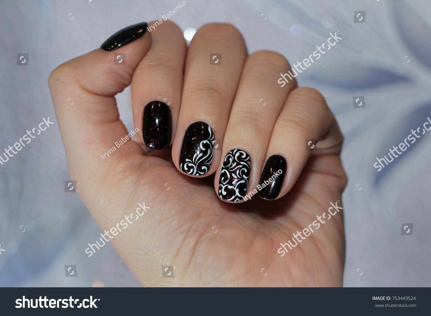 Lacquer On Nails Black Color Red Stock Photo (Royalty Free ...