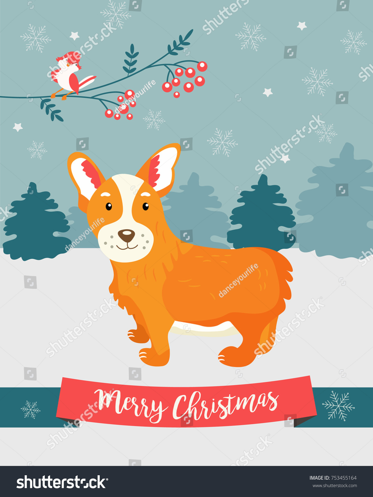 Holiday Greeting Card Cute Corgi Dog Stock Vector Royalty Free