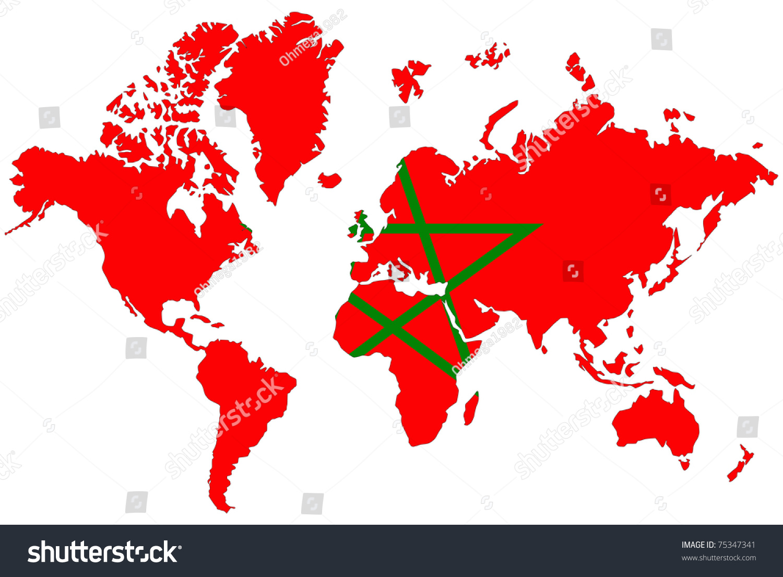 World Map Background Morocco Flag Stock Illustration 75347341 ...