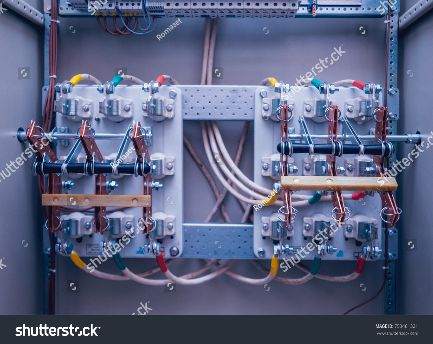 Wires Switches Electric Box Electrical Panel Stock Photo Edit Now Wiring Circuit And In With Fuses Contactors Background