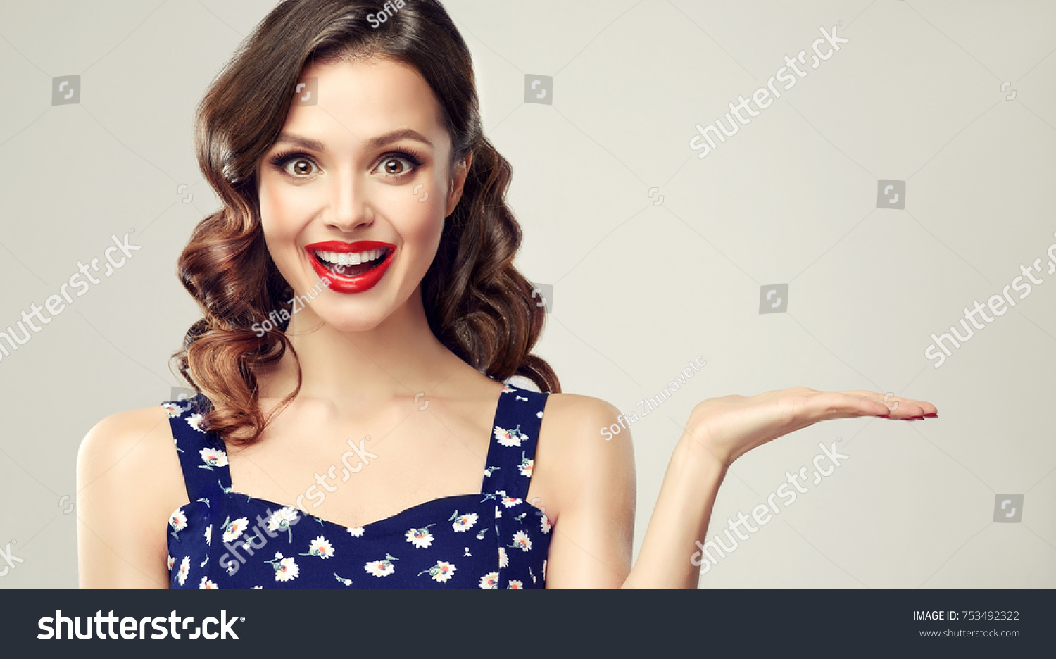 Woman Surprise Showing Product Beautiful Girl Stock Photo Edit Now