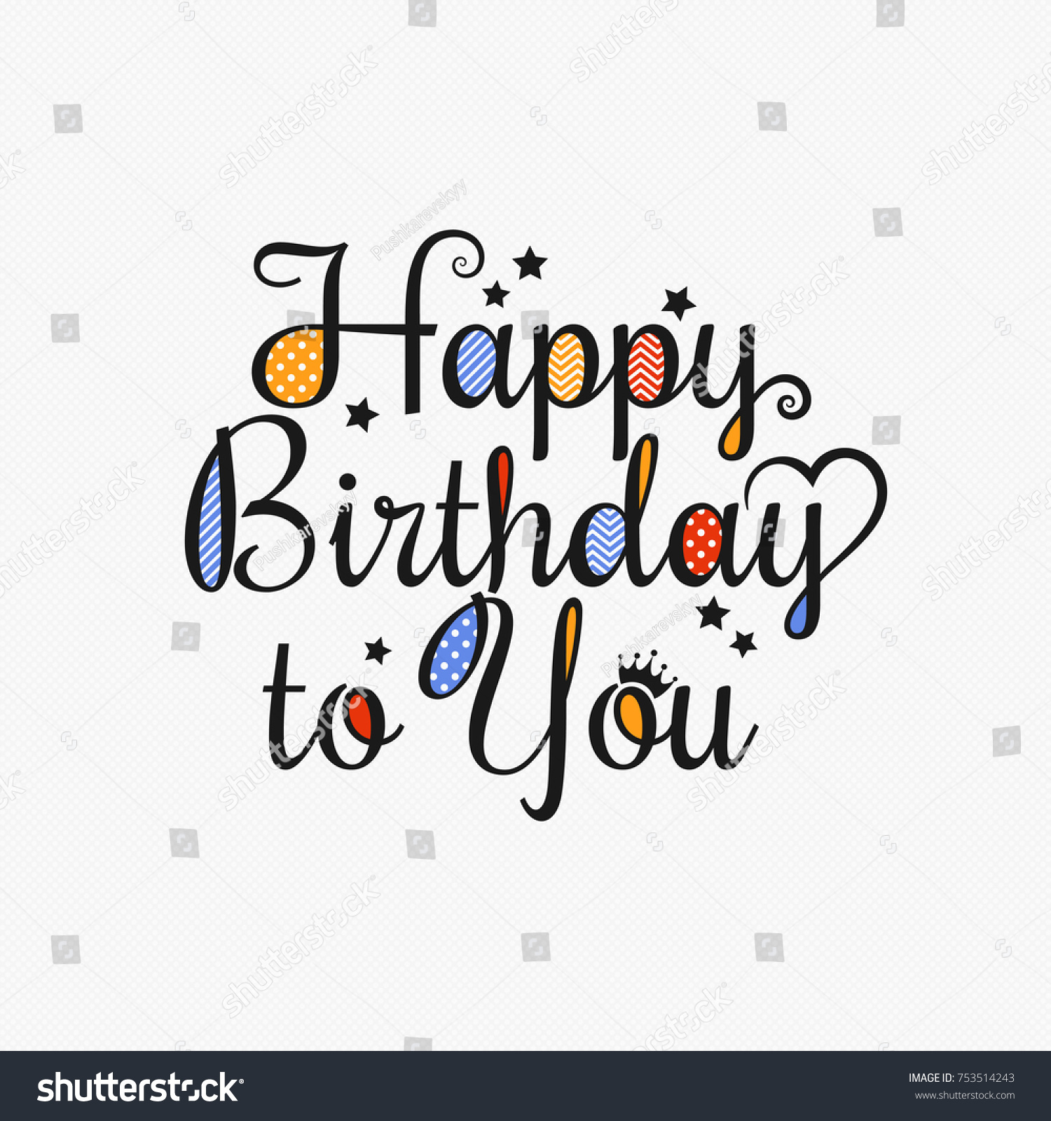 Happy Birthday Card Lettering Design Background Stock Vector